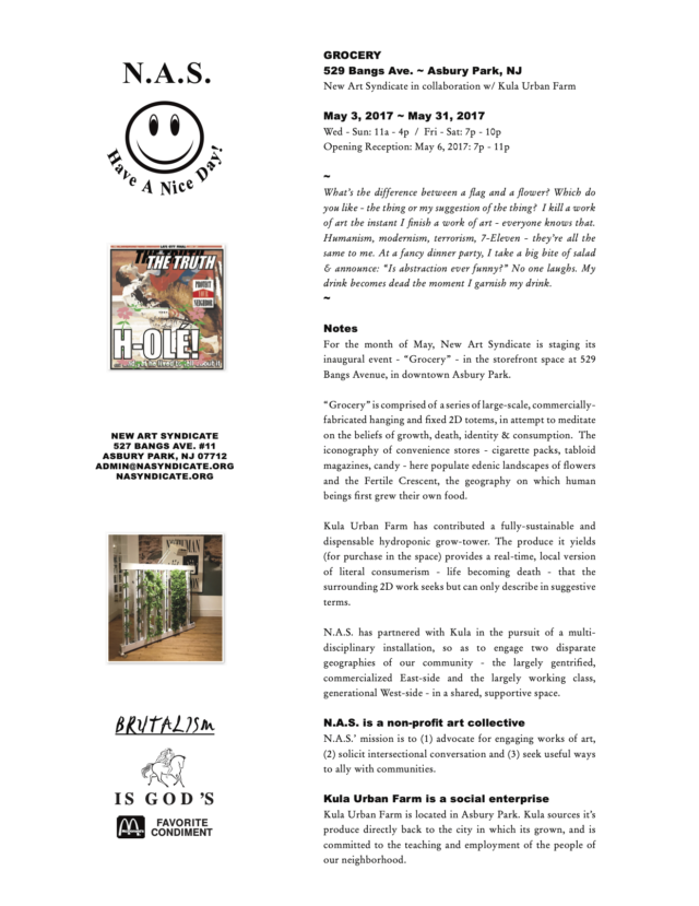Grocery-New Art Syndicate-Press-Release