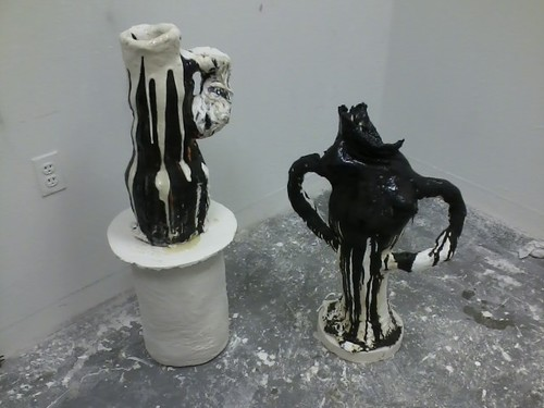 Two black and white sculptures